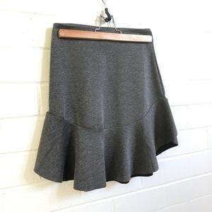 H&M Grey Frill Hem Mini Skirt XS
